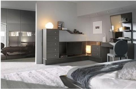 Sofisticados dormitorios en gris y blanco for Dormitorio azul y gris