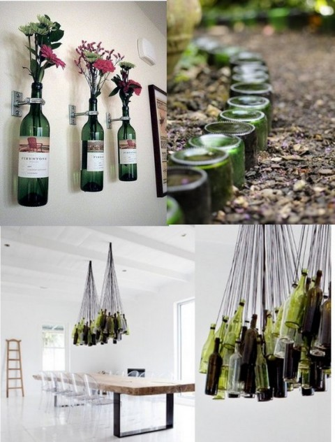 Ideas para decorar con viejas botellas 01