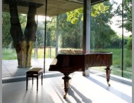 imagen Una casa de cristal integrada con la naturaleza
