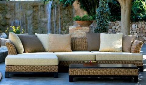 Muebles de rat n y mimbre for Sofas para jardin baratos