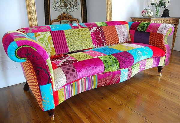 Ideas para decorar con el patchwork for Decorar muebles con tela
