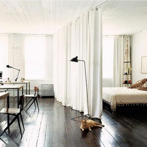 separa ambientes con cortinas
