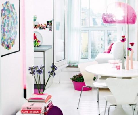 Romántica decoración en blanco y rosa 1