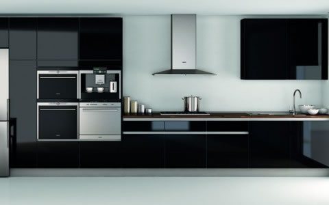 Cocinas en color negro for Muebles de cocina negro