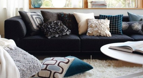 Complementos decorativos para sof s oscuros Cojines decorativos para sofas