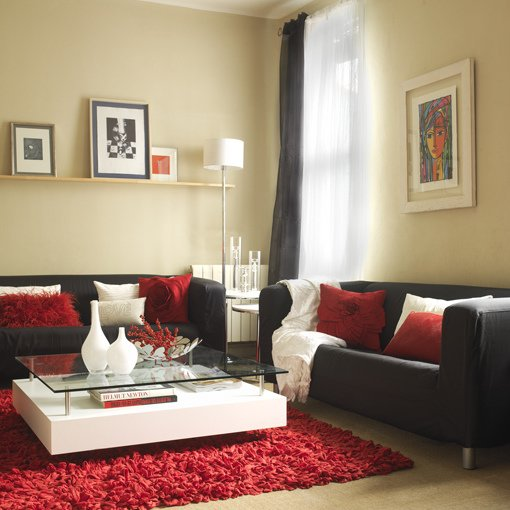Complementos decorativos para sof s oscuros for Black white gray and red living room