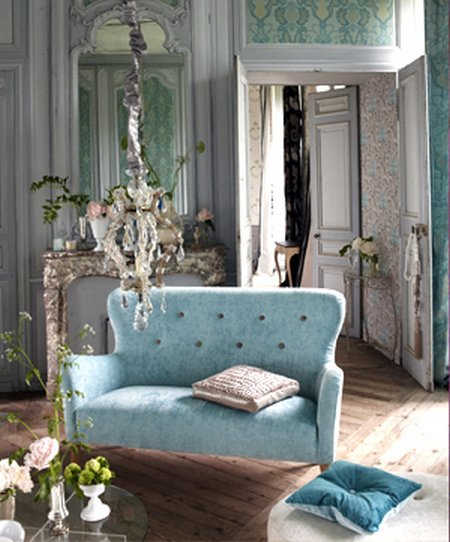 Salas de estilo rom ntico for Sala de estar retro vintage