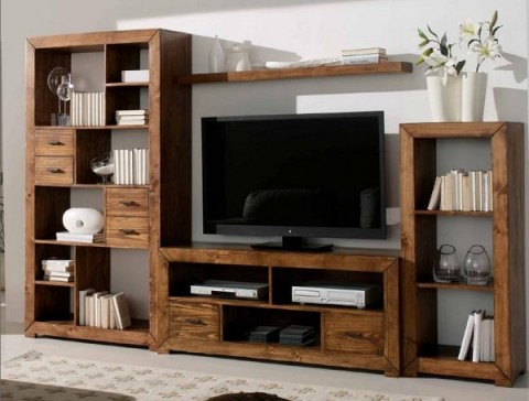 Muebles de madera para el interior for Muebles tv originales