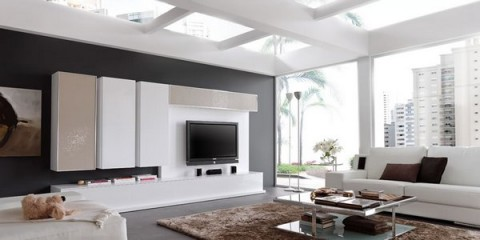 Livings modernos en gama blanca for Decoracion interiores salones modernos