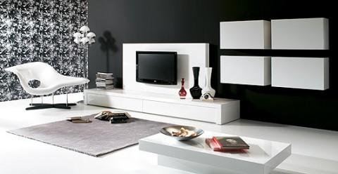 Livings modernos en gama blanca for Salones modernos lacados blanco
