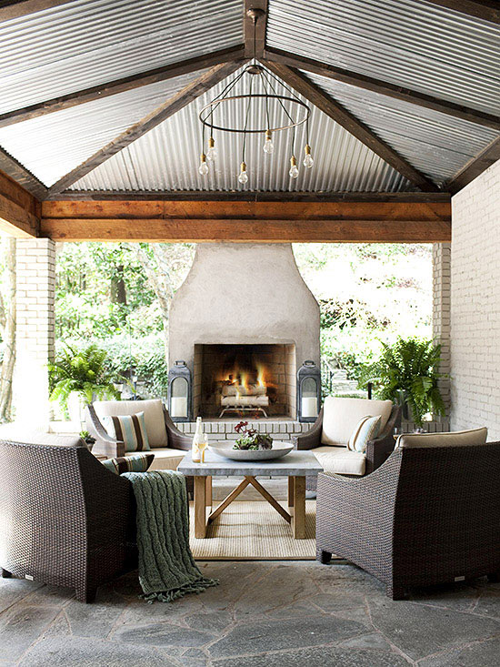 Chimeneas al aire libre - Covered porch house plans space for the family ...