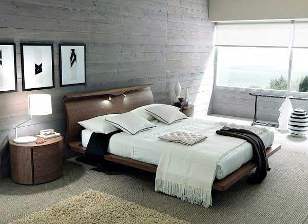 Decora las habitaciones con acabado de hormig n - Dormitorios decorados con papel pintado ...