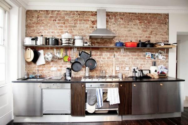 Cocinas de estilo industrial y ladrillo - Paredes de cocina ...