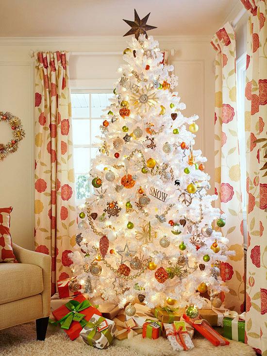 27 inspiradoras ideas para el rbol de navidad - Decorar arbol de navidad blanco ...