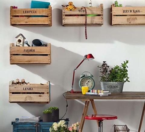 Interiores decorados con cajas de fruta