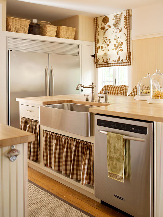 Ideas para renovar la cocina con poco presupuesto - Cortinas para armarios sin puertas ...
