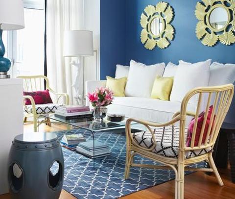 Colores rosa, azul y amarillo para interiores 2