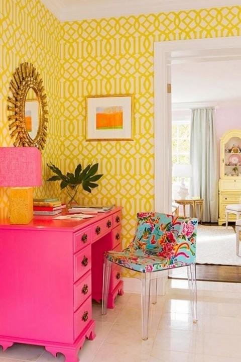 Colores rosa, azul y amarillo para interiores 5