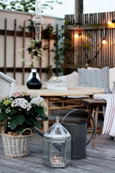 Aut nticas mesas r sticas para exteriores - Farolillos de exterior ...