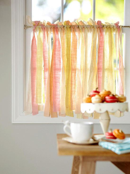 Decorar con cintas de tela for Tende per soggiorno e cucina