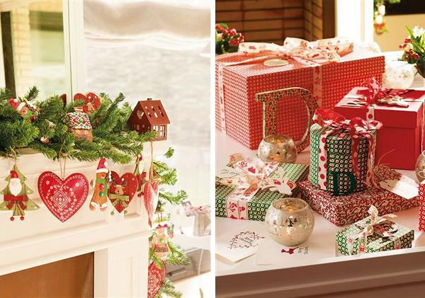 aqu vemos en detalle la decoracin navidea como podris observar est basada en los colores pero usando una gran variedad de objetos