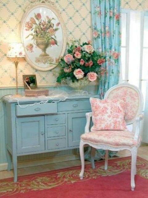 Estilo shabby chic en rosa blanco y azul for Photo shabby chic
