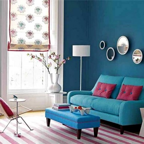 red and blue living room decor una vivienda m 225 s luminosa con el color azul turquesa 26092