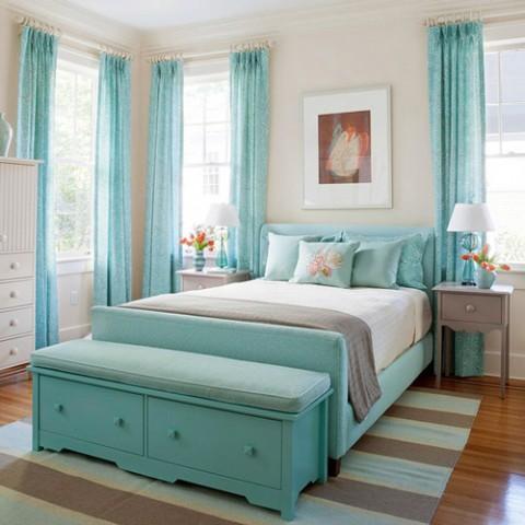 Una vivienda m s luminosa con el color azul turquesa for Alfombra azul turquesa del dormitorio