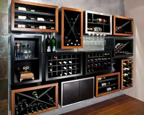 Bodegas integradas en el comedor for Modelos de muebles para bar