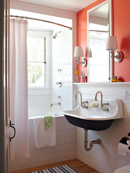 Paletas de color para cuartos de ba o for Great un bano con paredes en naranja de