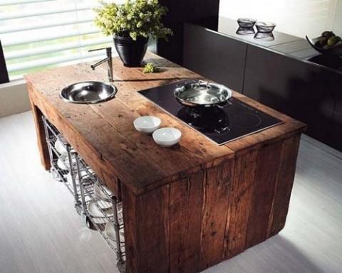 C mo utilizar palets para la cocina for Listones de madera para palets