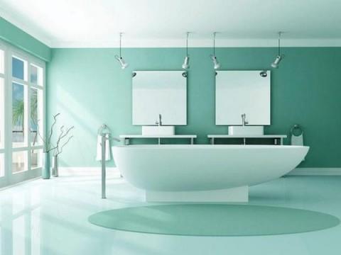 Color verde menta en el baño 2
