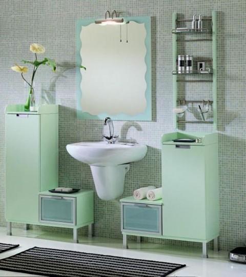 Color verde menta en el baño 4