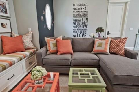 Cómo llenar de color un sofá gris 1
