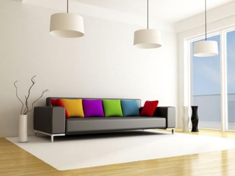 C mo llenar de color un sof gris for Sofa gris claro color pared