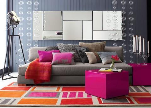 Cómo llenar de color un sofá gris 5