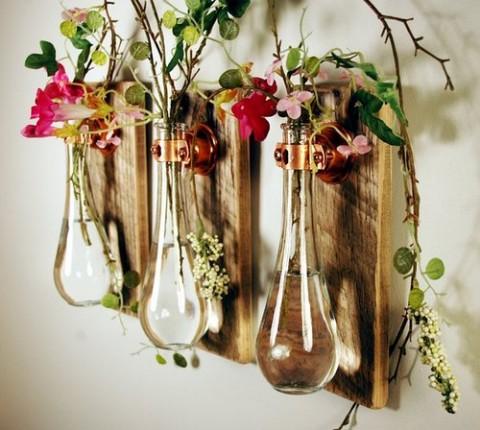 decoraciones florales en frascos de color. Black Bedroom Furniture Sets. Home Design Ideas