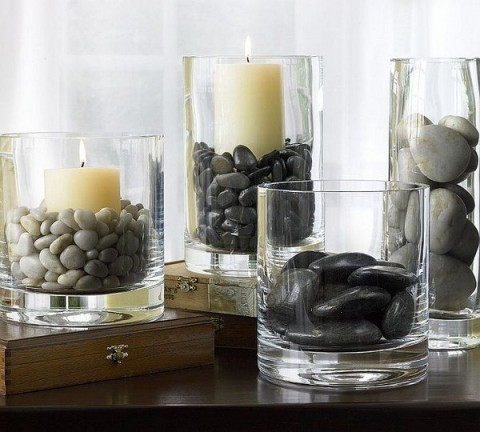 vasijas decoradas con piedras y gemas