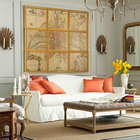 Ideas para decorar la pared sobre el sof for Ideas para decorar las paredes del salon