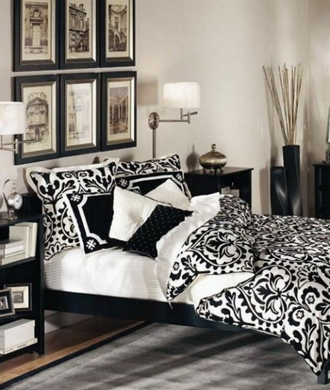 Ideas para dormitorios en blanco y negro for Black n white bedroom