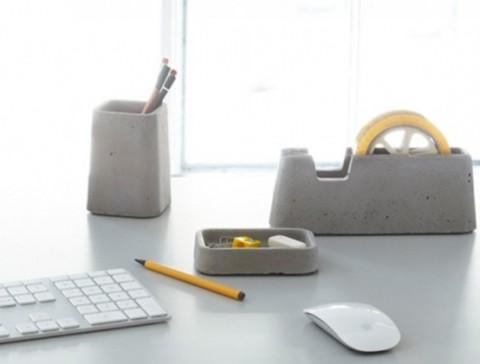 Set de accesorios de oficina de concreto for Accesorios de oficina