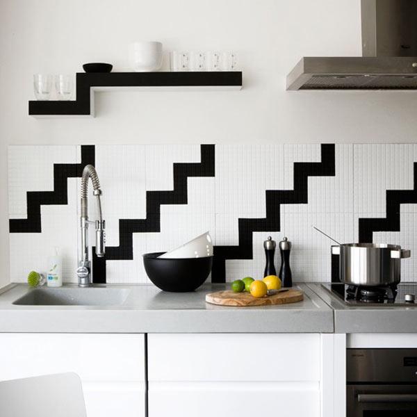 12 ideas para frentes de cocina for Black n white kitchen ideas