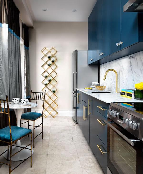 Cocina azul y oro 1 | Guía para Decorar