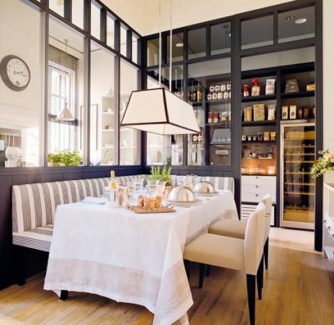 Cocina y comedor dos espacios en uno for Comedor de cocina esquinero