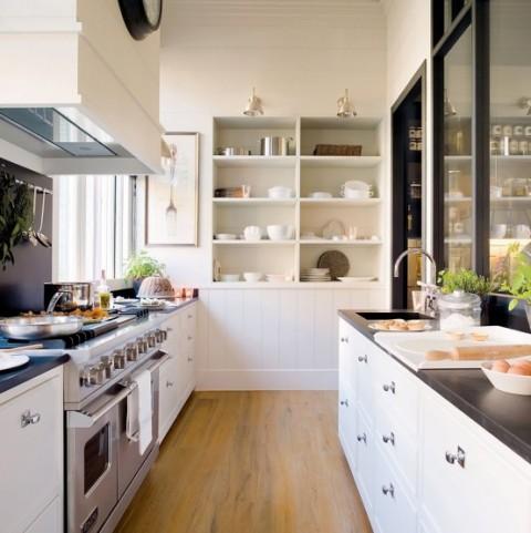 Cocina y comedor dos espacios en uno for Cocinas de 2 metros