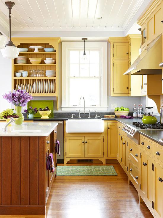 Bright Lemon Yellow Kitchen Paint Design Ideas ~ Acogedoras cocinas de estilo cottage