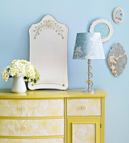 18 ideas para decorar con papel para empapelar - Papel para paredes con gotele ...