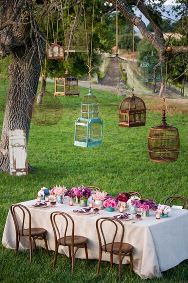 Aprovecha las jaulas para aves como accesorio decorativo for Decoracion boda exterior