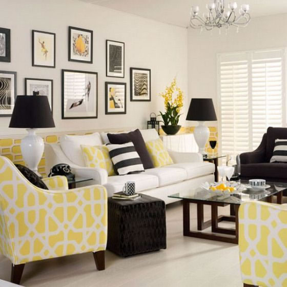 Decora con amarillo tu living y comedor for Yellow and gray living room ideas
