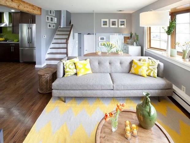 Decora con amarillo tu living y comedor Gray blue yellow living room